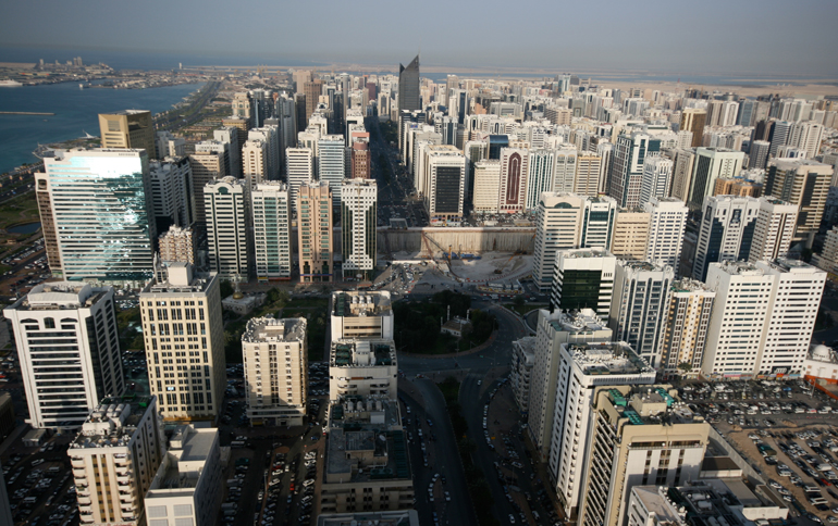 Bird view of some buildings in Abu Dhabi